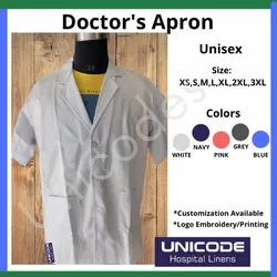 3 Button White Doctor Apron, For Hospital