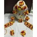 Yellow And Red Paper Flowers And Pearls Flower Haldi Set, Wedding