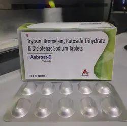 Trypsin 48mg bromelain 90mg rutoside trihydrate 100mg diclofenac sodium 50mg