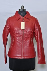 Full Sleeve Red LJ12 Girls Leather Jacket