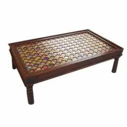 Wooden Tile And Brass Fitted Coffee Table