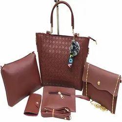 Marron Plain PU Bag Set No-11113