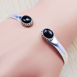 925 Sterling Silver Jewelry Black Onyx Adjustable Gemstone New Bangle SJWB-99