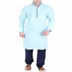 Dupion Casual Wear Mens Sky Blue Kurta Pajama, Handwash