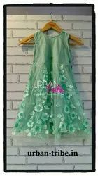 Girl Frock Urban Tribe Sea Green Flower Net Dress