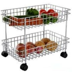 Stainless Steel Kitchen Trolley Vegetable Racks, Size/Dimension: 16 * 9 * 13 Inch, Load Capacity: 50 Kg