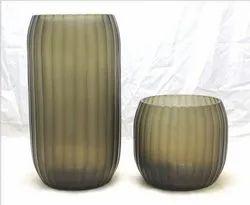 Matte Round Ribbed Glass Vases