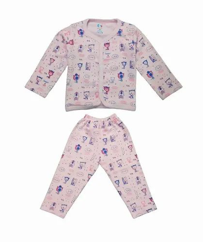 PRINTED FRONT OPEN ROUND NECK BABA SUIT FOR KIDS