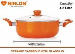 Aluminium Orange 4.2L Nirlon Non Stick Induction Based Ceramic Casserole with Glass Lid, Capacity: 4.2 Liters, Size: 26 Cm