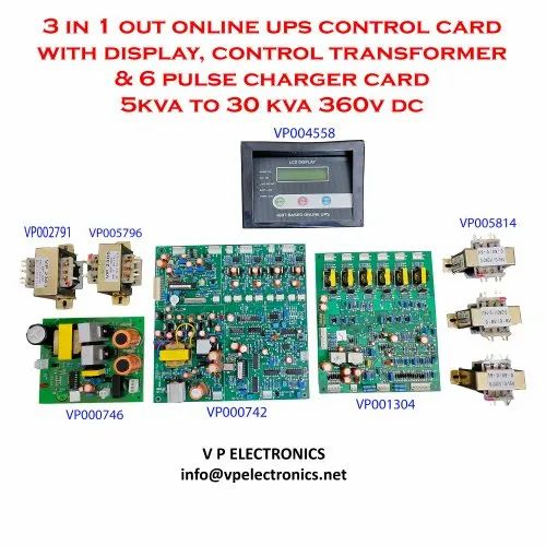 3 in 1 out Online UPS Control Card with Display, Control Transformer & 6 Pulse Charger Card