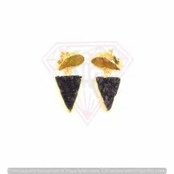 Electroplated Druzy Gemstone Triangle And Moon Shape Earring
