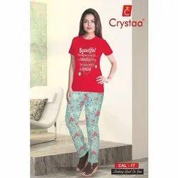 Crystaa Printed Ladies Round Neck Pyjama Set
