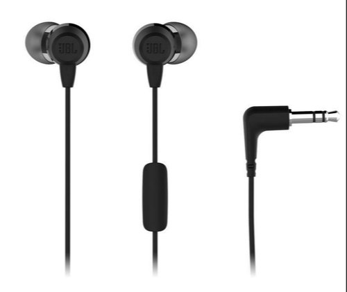JBL - JBLC50HIBLK - T50HI In Ear Headphones With Mic (Black & Blue)