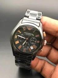 Round SS Armani Black Luxury Watch For Man