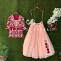 Red And Pink Designer Lehenga Choli