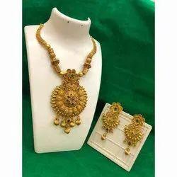 Golden Imitation Copper Artificial Necklace Set, Packet