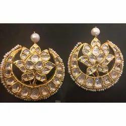 Real Diamonds Party Wear Gold Uncut Polki Diamond Earrings, 22k