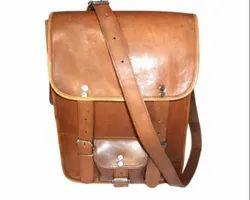 Brown HV Vintage Leather Curve Portrait Bag