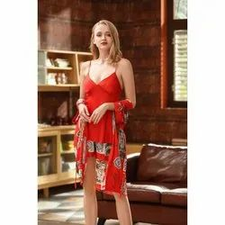 Short Length Satin Ladies Red Night Gown With Shrug