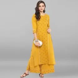 Janasya Women''''s Mustard Pure Cotton Kurta With Palazzo(SET097)