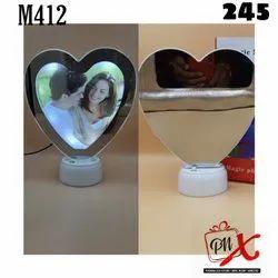 Magic Mirror Heart Shape Frame With LED  Light