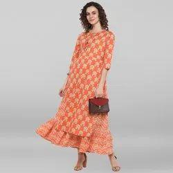 Janasya Women's Peach Pure Cotton Ethnic Dress(J0038)