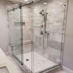 Sliding Frameless Glass Shower Door, Thickness: 18 Mm