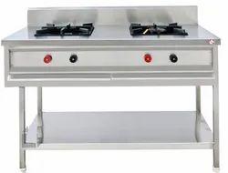 LPG two burner stainless steel gas range, For Commercial