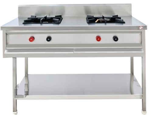 LPG two burner stainless steel gas range, For Commercial