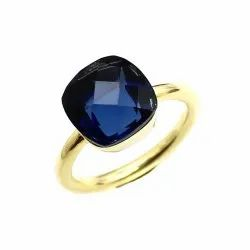 Sparkling Silvex Golden Blue Sapphire Gold Plated Ring, 925 Sterling Silver
