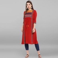 Janasya Women's Red Poly Crepe Kurta(JNE3270)
