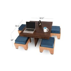 4 Seater Coffee Table Set, For Home, Size: 32.5 X 32.5 X 16 Inch (table)