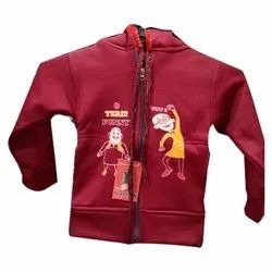 Woolen Hooded Kids Printed Jacket