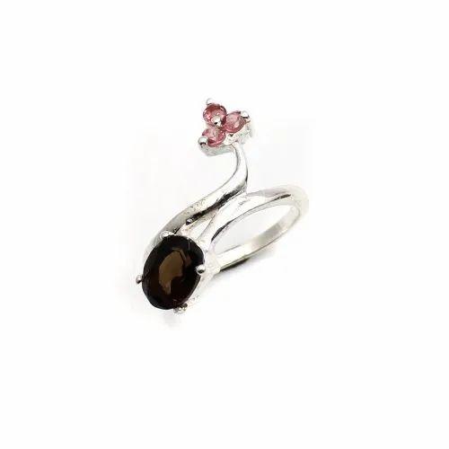 Oval Shape Smoky Quartz Designer Ring