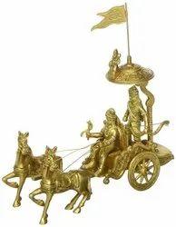Golden (Gold Plated) Brass Krishna Arjun Statue, For Worship