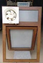 Teak Wood Finish Aluminium Ventilator Aluminum Hinged Window
