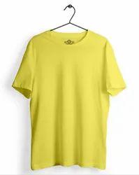 Plain Mens Yellow Round Neck T Shirt