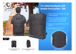 S06 Slimz Black Backpack With Double Front Pocket By Castillo Milano