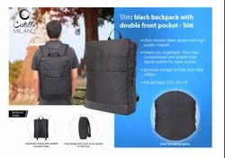 S06 Slimz Black Backpack With Double Front Pocket By Castillo Milano, Number Of Compartments: One Main Compartment