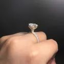 Round Cut Full White Moissanite Ring White Yellow Rose Gold For Engagement Wedding