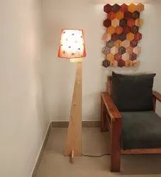 Beige Wooden Trigo Floor Lamp