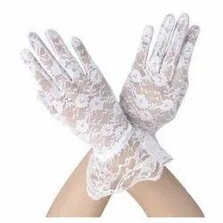 White Net Bridal Gloves