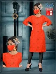 Rayon Kurti With Mask