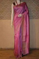 Lal10 Zardozi Work Tussar Silk Sarees, 5.5 m (Separate Blouse Piece)