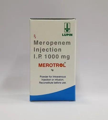 Merotrol Meropenem 1000 Mg Injection, Lupin Ltd, Prescription, Rs 280  /piece | ID: 22583928788