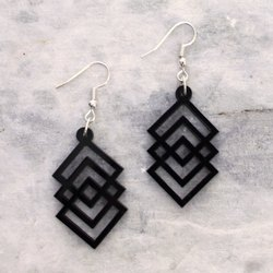 Layered Square Design Acrylic Design Earring