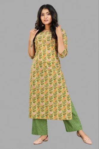 Pure Cotton Hand Block Printed Kurti With Pant Set