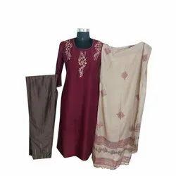 Ladies Designer Silk Palazzo Suit, Handwash