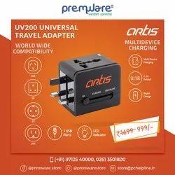 Black Soft Touch Plastics Uv200 Universal Travel Adaptor, For Electronic Instruments