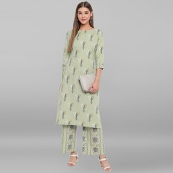 Janasya Women''''s Light Green Cotton Flex Kurta With Palazzo(SET216)
